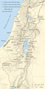 Possible route of Chedorlaomer's alliance as they defeated the clans of giants and then the coalition of five kings near Sodom and Gomorrah (click to enlarge)